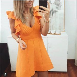 Zara Ruffled Knit Dress Orange Small